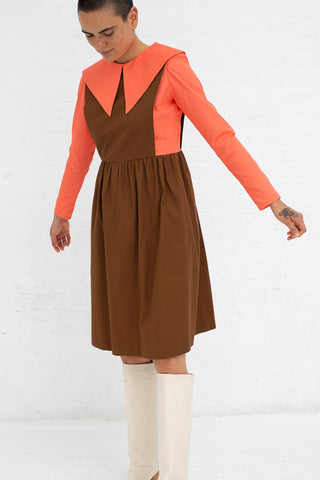 Batsheva Renaissance Dress in Coral and Brown, Front View Arms Away From Side, Oroboro Store, New York, NY