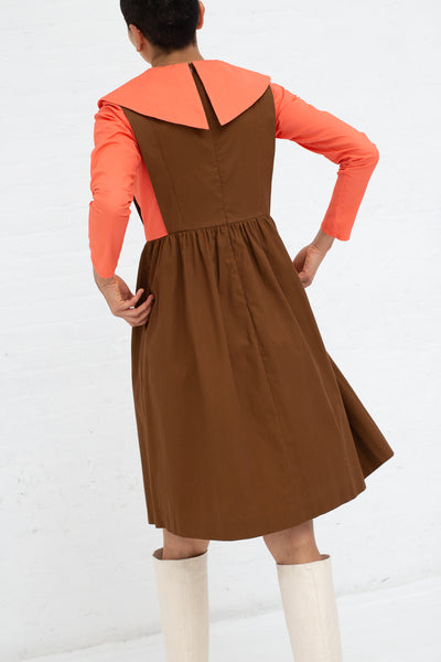 Batsheva Renaissance Dress in Coral and Brown, Back View