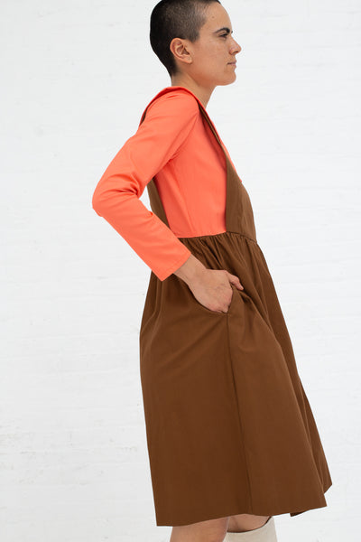 Batsheva Renaissance Dress in Coral and Brown, Side View