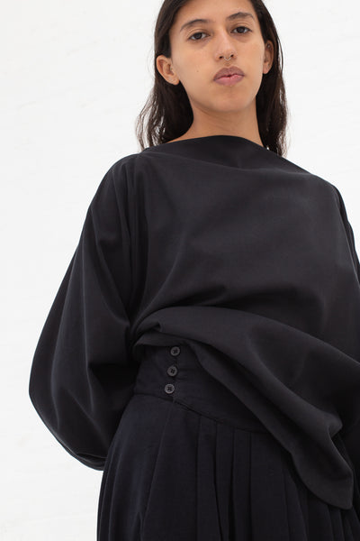 Black Crane Button Wrap Skirt in Midnight Cotton Flannel | Oroboro Store | New York, NY
