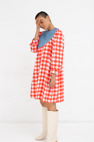 Batsheva Sash Dress in Denim Red Gingham | Oroboro Store | New York, NY