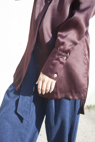 Delfina Balda Lydia Tunic in Deep Brown | Oroboro | Brooklyn, New York
