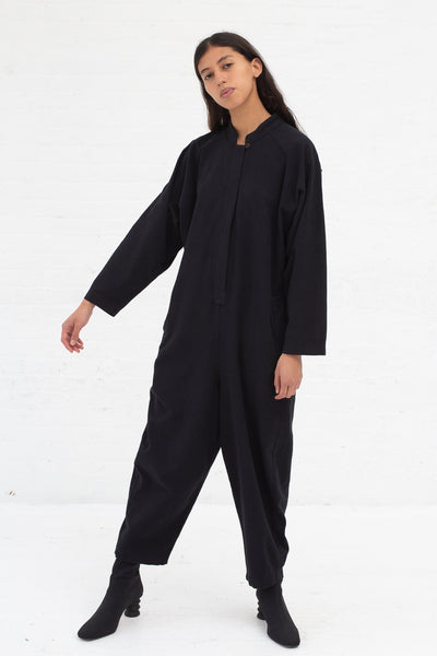 Black Crane Easy Jumpsuit in Midnight Cotton Flannel | Oroboro Store | New York, NY