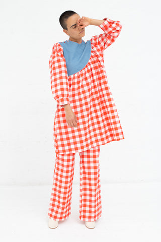 Batsheva Wide Trouser in Red Gingham, Front View Full Body, Oroboro Store, New York, NY