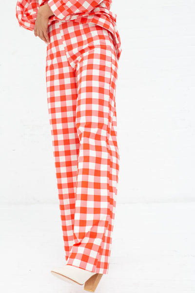 Batsheva Wide Trouser in Red Gingham | Oroboro Store | New York, NY