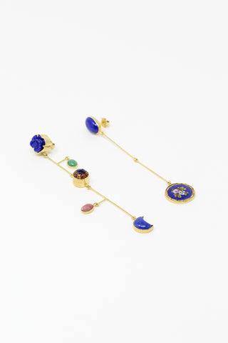 Grainne Morton Mismatched Mobile Drops with Found Objects, Precious Gems and Gold Plated Silver | Oroboro Store | New York, NY