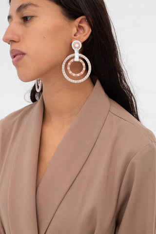 Robin Mollicone Double Beaded Gypsy Hoop Earrings in White Howlite | Oroboro Store | New York, NY