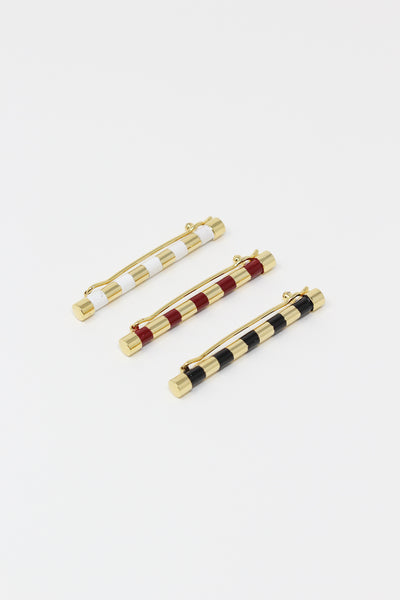 Abby Carnevale Striped Barrette with Hand Painted Resin in Black and Gold | Oroboro Store | New York, NY