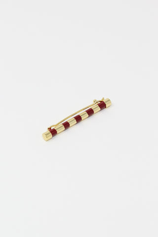 Abby Carnevale Striped Barrette with Hand Painted Resin in Cardinal and Gold, Overhead View,  Oroboro Store , New York, NY