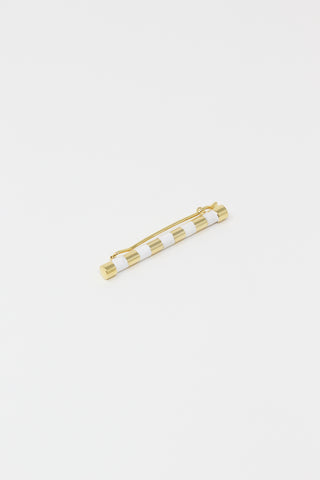 Striped Barrette with Hand Painted Resin in White and Gold, Overhead View