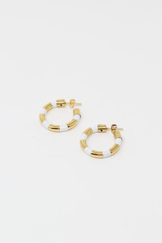 Abby Carnevale Striped Hoops with Hand Painted Resin in White and Gold | Oroboro Store | New York, NY