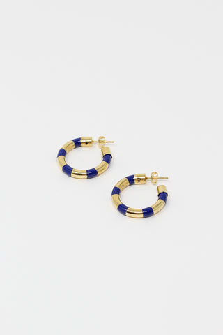Abby Carnevale Striped Hoops with Hand Painted Resin in Ultramarine and Gold | Oroboro Store | New York, NY
