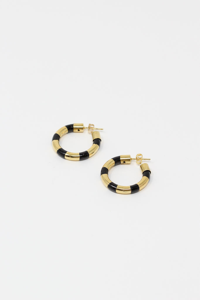 Abby Carnevale Striped Hoops with Hand Painted Resin in Black and Gold | Oroboro Store | New York, NY