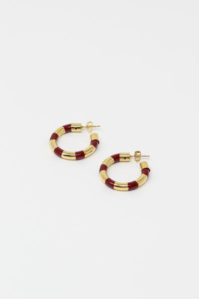 Abby Carnevale Striped Hoops with Hand Painted Resin in Cardinal and Gold | Oroboro Store | New York, NY