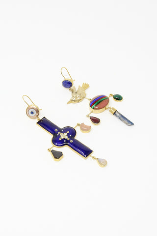 Grainne Morton Antique Enamel and Bird Earrings with Found Objects, Precious Gems with Gold Plated Silver | Oroboro Store | New York, NY