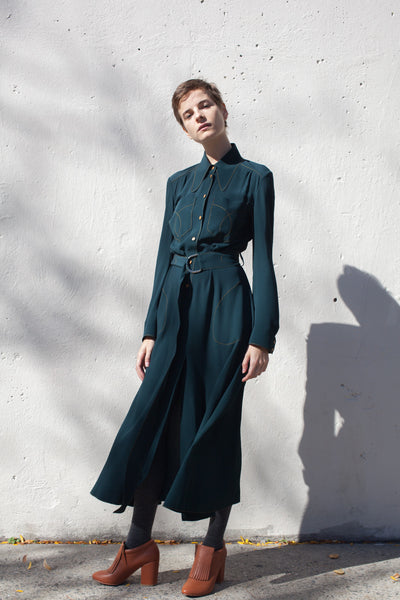 Veronique Leroy Long Sleeve Dress in Duck Green