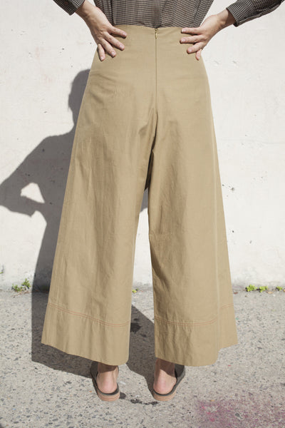 Caron Callahan Ellis Pant in Khaki Slub Cotton | Oroboro Store | Brooklyn, New York