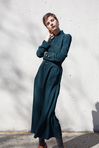 Veronique Leroy Long Sleeve Dress in Duck Green | Oroboro Store | Brooklyn, New York