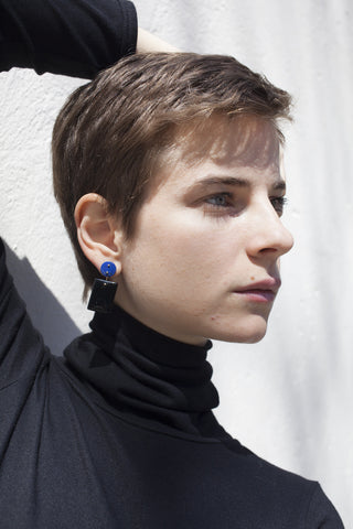 Jessica Winzelberg Lapis and Onyx Earrings | Oroboro Store | Brooklyn, New York