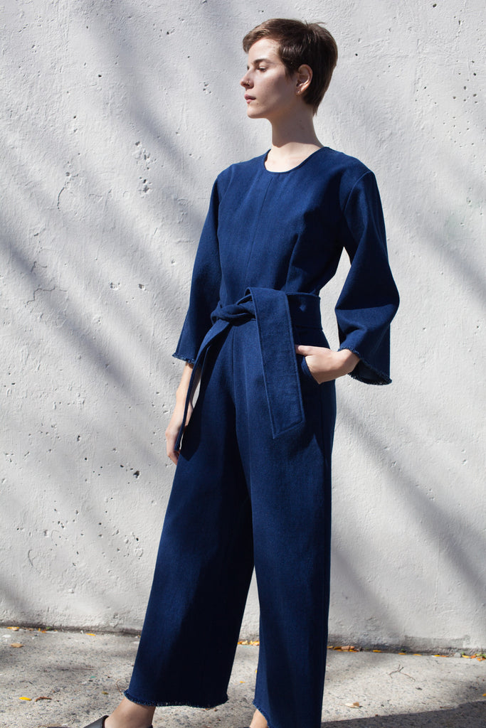 Delfina Balda Pallas Jumpsuit in Denim | Oroboro | Brooklyn, New York