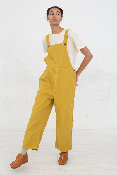Ichi Antiquites Overalls in Yellow full front view
