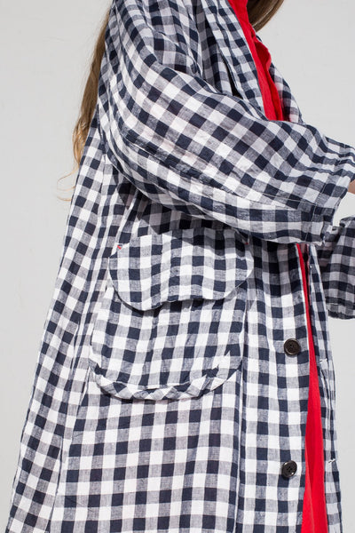 Hallelujah Manteau 1910  in White Gingham cropped side view