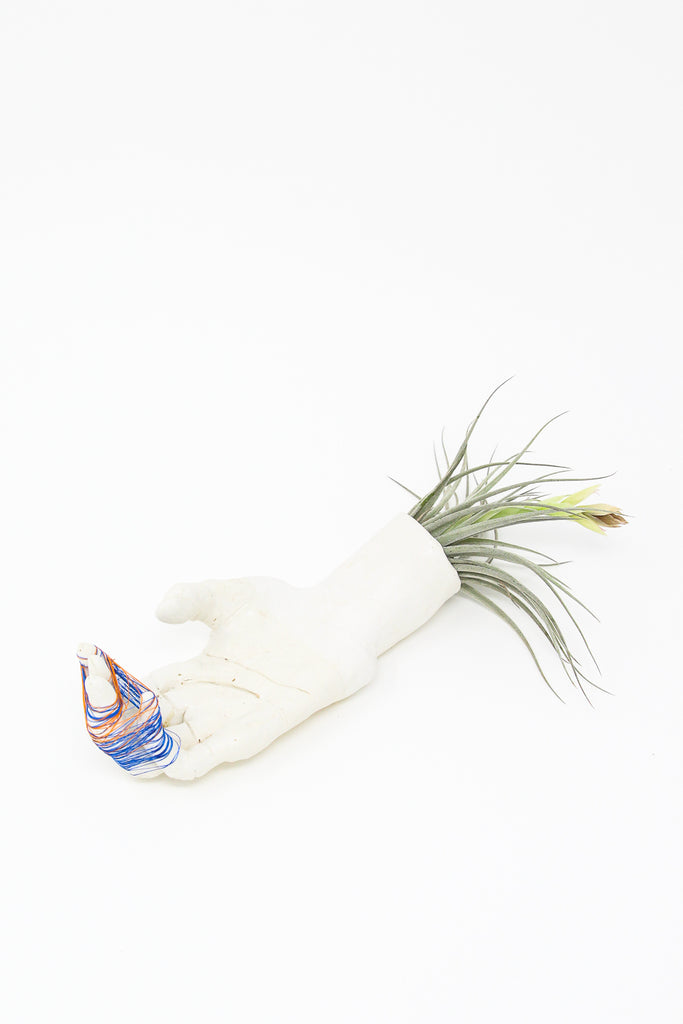 Monty J Ceramic Hand Sculpture - Orange/Blue Thread on Fingers | Oroboro Store | New York, NY