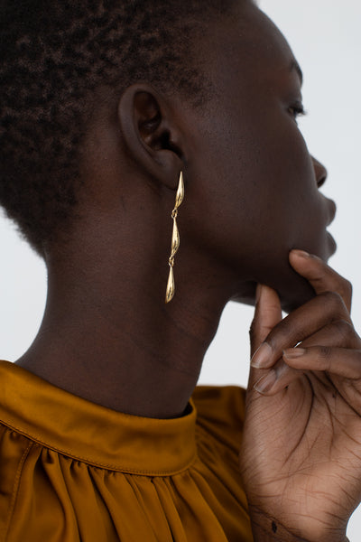 Quarry Asymmetrical Lor Triple Earring in Brass | Oroboro Store | New York, NY