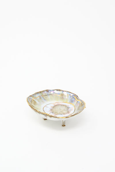 Minh Singer Small Footed Iceland Dish with Gold Ripple in White/Gold | Oroboro Store | New York, NY