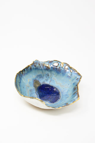 Minh Singer Amorphous Iceland Bowl in Waterfall with Gold Splatter - Blue/White/Gold | Oroboro Store | New York, NY