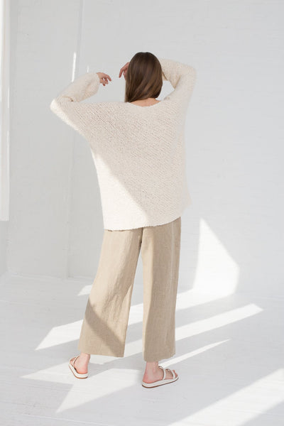 Lauren Manoogian Handknit Bias Pullover in Crudo full back view