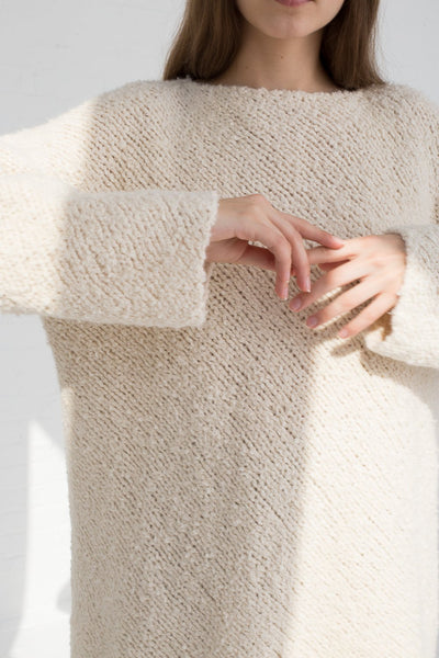 Lauren Manoogian Handknit Bias Pullover in Crudo cropped sleeve detail view