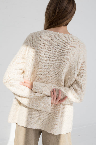 Lauren Manoogian Handknit Bias Pullover in Crudo cropped back view