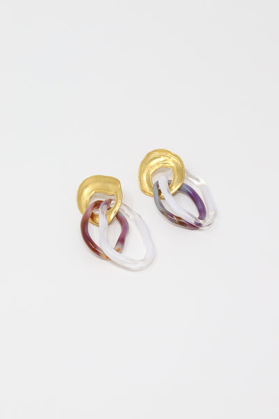 Leigh Miller Triple Glass Hoop Earring in 14K Gold Plated Brass | Oroboro Store | New York, NY