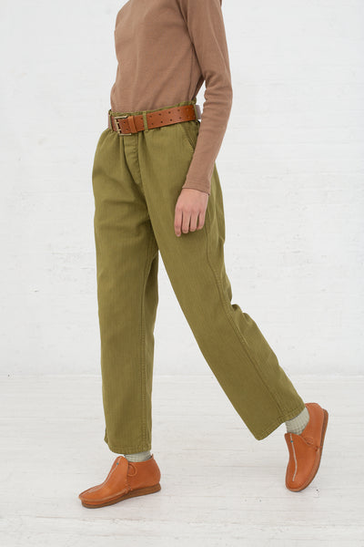 Ichi Antiquites Pant in Olive side view