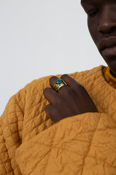 Quarry Shonn Ring in Malachite with Brass | Oroboro Store | New York, NY