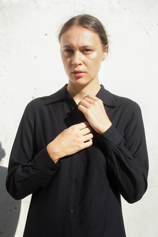 Base Range Nador Shirt Dress in Black | Oroboro Store | Brooklyn, New York