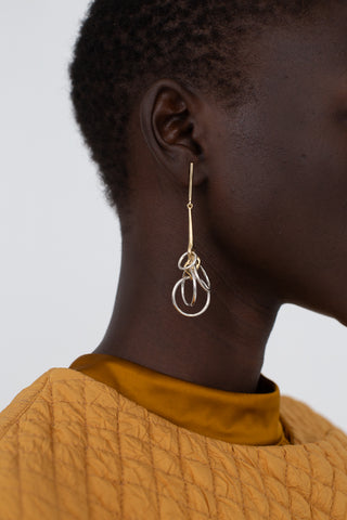 Sila Earring in Brass with SIlver Rings