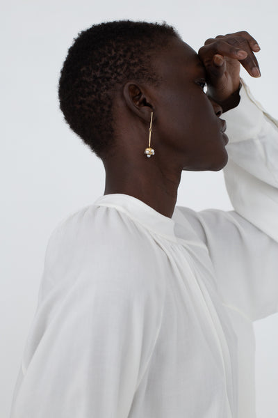 Quarry Ora Earring in Brass with White Pearl | Oroboro Store | New York, NY