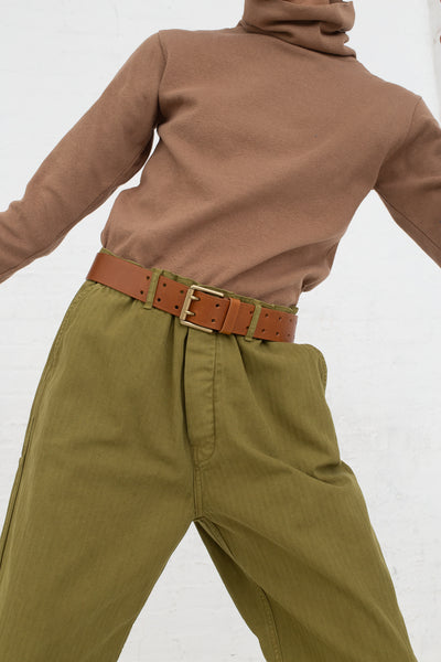 Ichi Antiquites Pant in Olive cropped front view