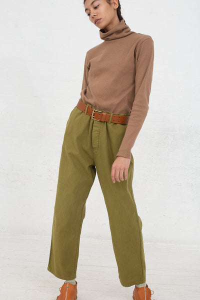 Ichi Antiquites Pant in Olive front view