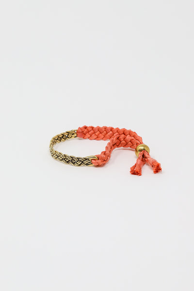 Coastal Bracelet in Brass/Coral Silk Tape