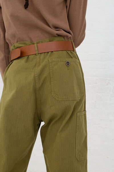 Ichi Antiquites Pant in Olive cropped back view