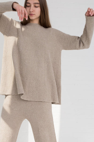 Lauren Manoogian Flare Pullover in Pumice cropped front view
