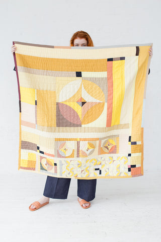 Thompson Street Studio Cactus Rose Quilt in Yellow | Oroboro Store | New York, NY