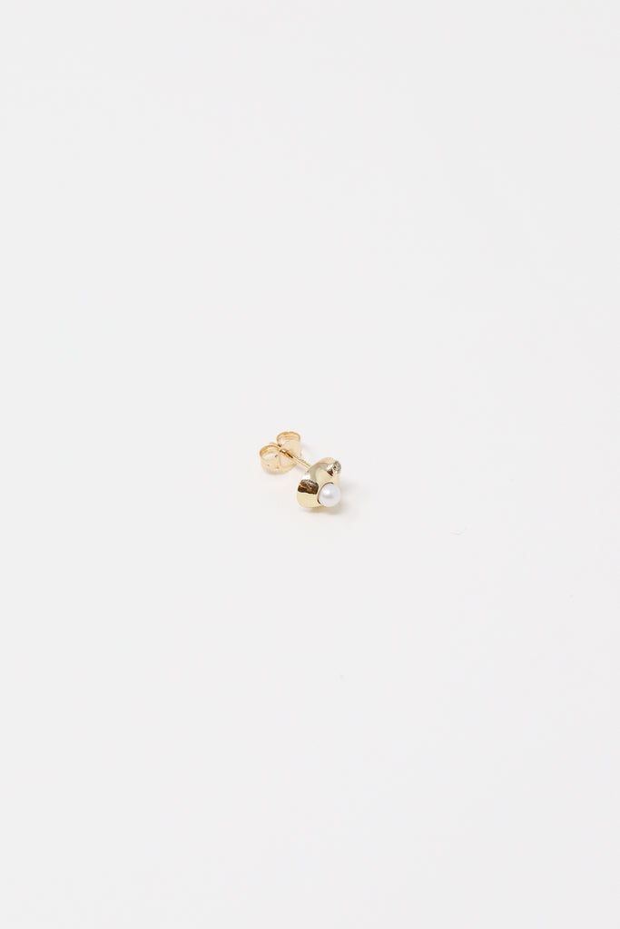 Quarry Appo Earring in 14K Gold  1.5mm Champagne Diamond and White Pearl | Oroboro Store | New York, NY
