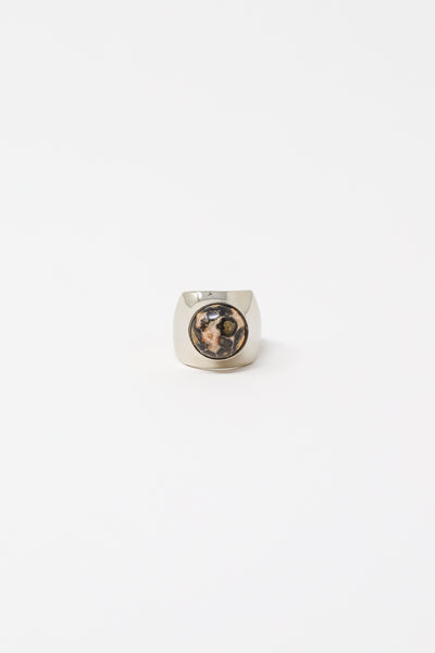 Quarry Shonn Ring in White Bronze with 12mm Leopard Skin Jasper | Oroboro Store | New York, NY