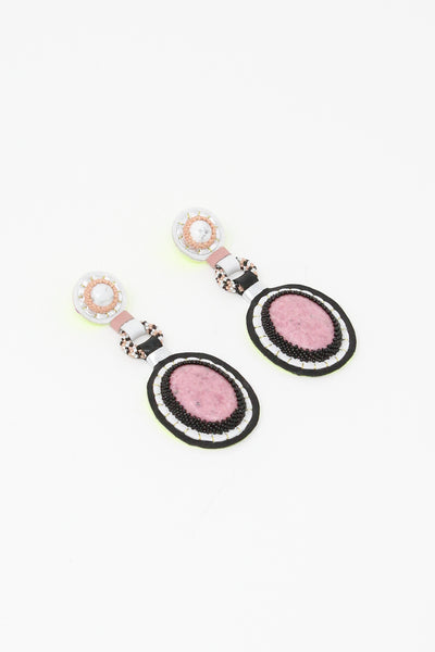 Robin Mollicone Double Stone Earrings in White Howlite/Rhodonite | Oroboro Store | New York, NY