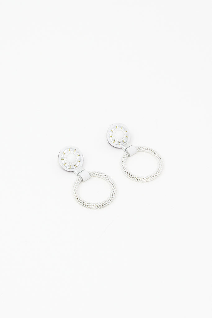 Robin Mollicone Small Beaded Hoop Earring in White Howlite | Oroboro Store | New York, NY