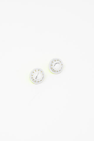 Robin Mollicone Button Earring in White Howlite | Oroboro Store | New York, NY